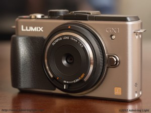 The Olympus 15mm f/8 Body Cap Lens on the Panasonic GX1