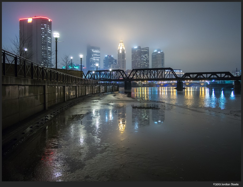 Columbus in the Night Fog - Olympus OM-D E-M5 with Panasonic 14mm f/2.5