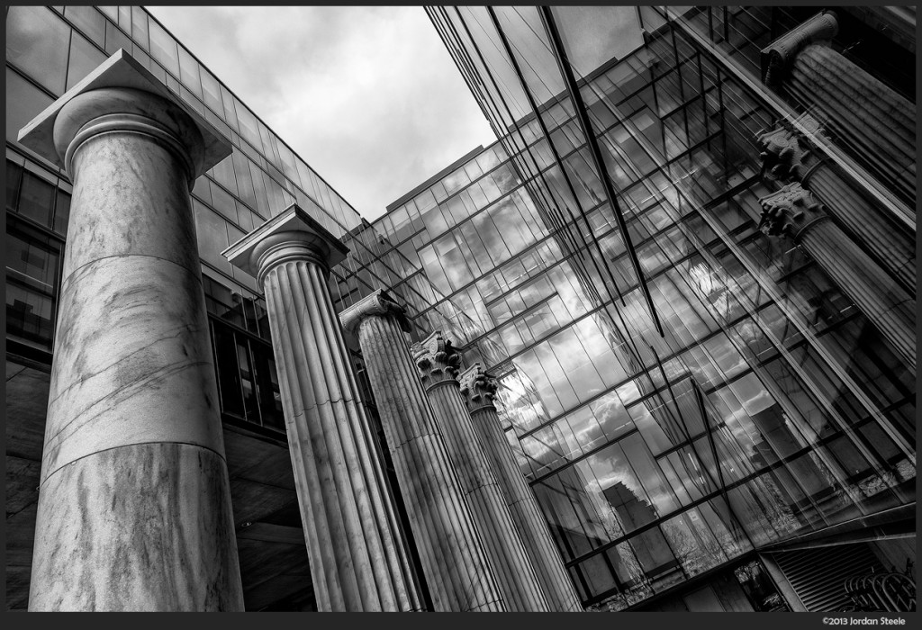 Reflected Columns - Knowlton Hall, The Ohio State University - Fuji X-E1 with Fujinon XF 14mm f/2.8