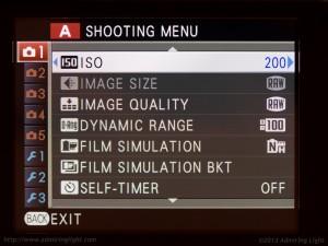 Fujifilm X-E1 Menu