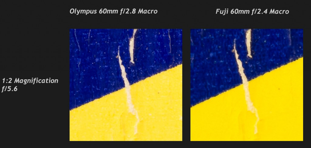 Olympus 60mm Macro vs Fuji 60mm Macro, 100% center crops at 1:2 magnification (Fuji)