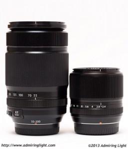 The Fuji 55-200mm f/3.5-4.8 next to the Fuji 60mm f/2.4 Macro