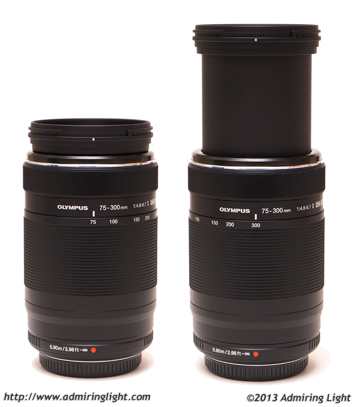 The Olympus 75-300mm II at 75mm (left) and 300mm (right)