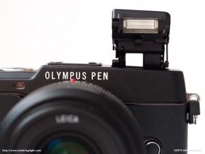 The Olympus E-P5's pop-up flash