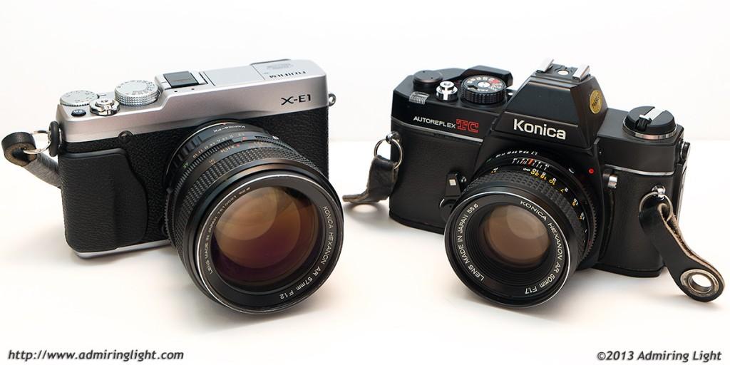 Fujifilm X-E1 with Konica Hexanon AR 57mm f/1.2 and Konica AR SLR with Konica Hexanon 50mm f/1.7