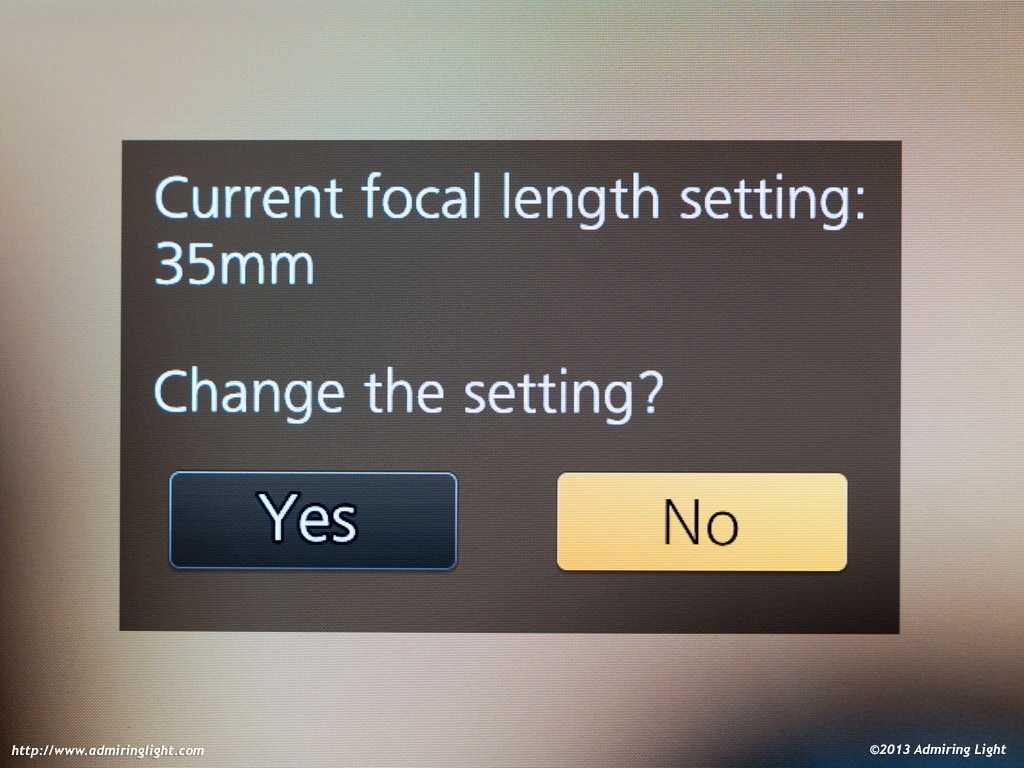 The focal length dialog box that appears when you attach an adapted or completely manual lens to the GX7