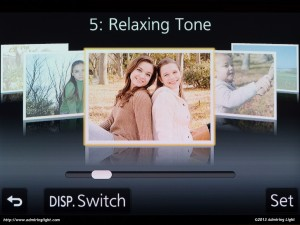 The GX7's scene mode selection - showing the 'Relaxing Tone' mode.