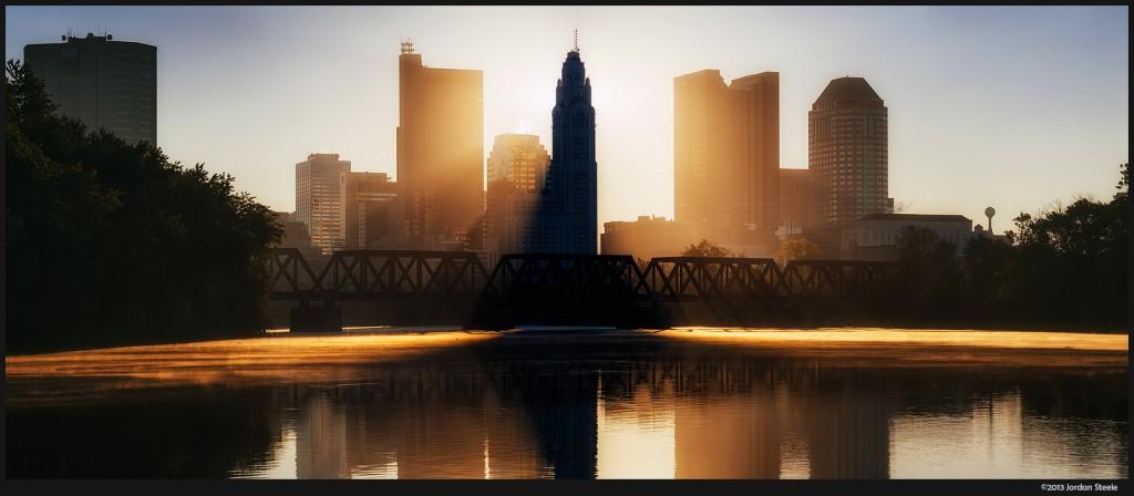 Sunrise Over Columbus - Panasonic GX7 with Olympus 75-300mm (click to enlarge)