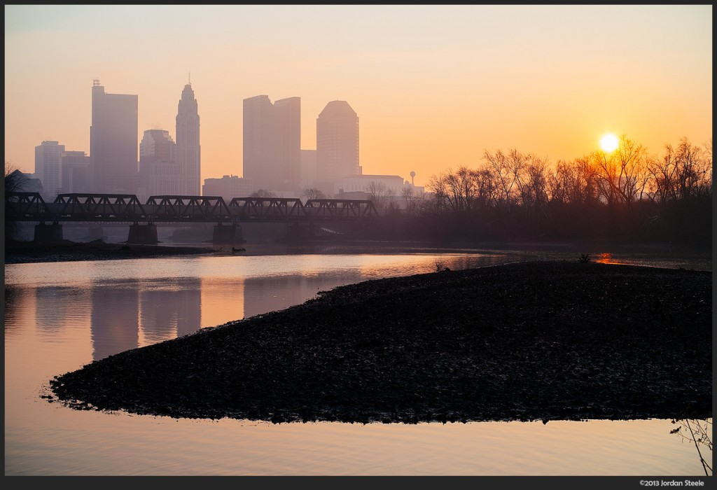 Sunrise over a low Scioto River - Fujifilm X-E2 with Canon FL 55mm f/1.2 + Speed Booster @ 39mm, f/8