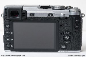 The rear of the X-E2, showing the new larger rear screen