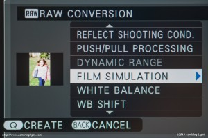 The X-E2's RAW conversion dialog