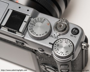 The X-E2's top plate, with shutter speed and exposure compensation controls