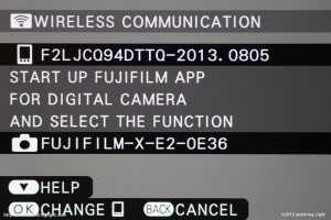 The WiFi dialog on camera
