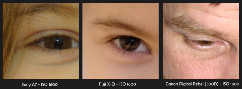 ISO 1600 JPEGs, 100% crops, Sony A7, Fuji X-E1, Canon Digital Rebel