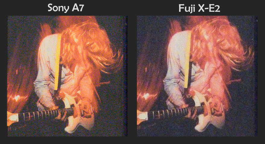 Sony A7 vs Fuji X-E2, Color Noise performance, ISO 6400