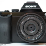 The Carl Zeiss FE 35mm f/2.8 Sonnar T* ZA, mounted to the Sony A7