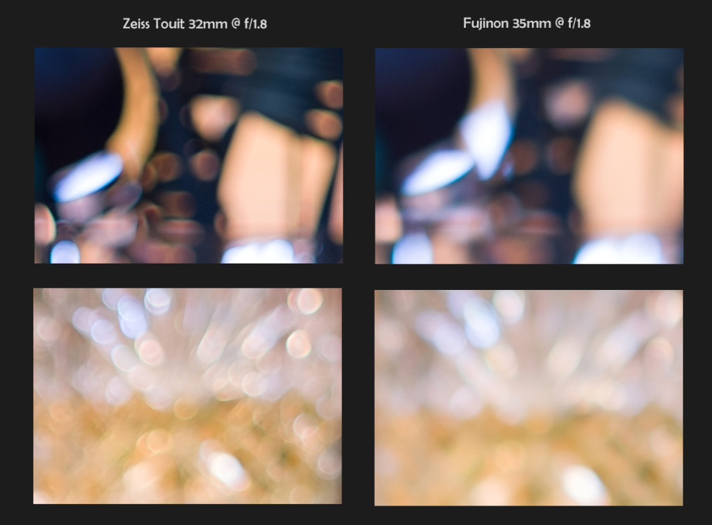 Zeiss 32mm f/1.8 vs Fuji 35mm f/1.4, 100% Crops, Bokeh @ f/1.8 (click to enlarge)