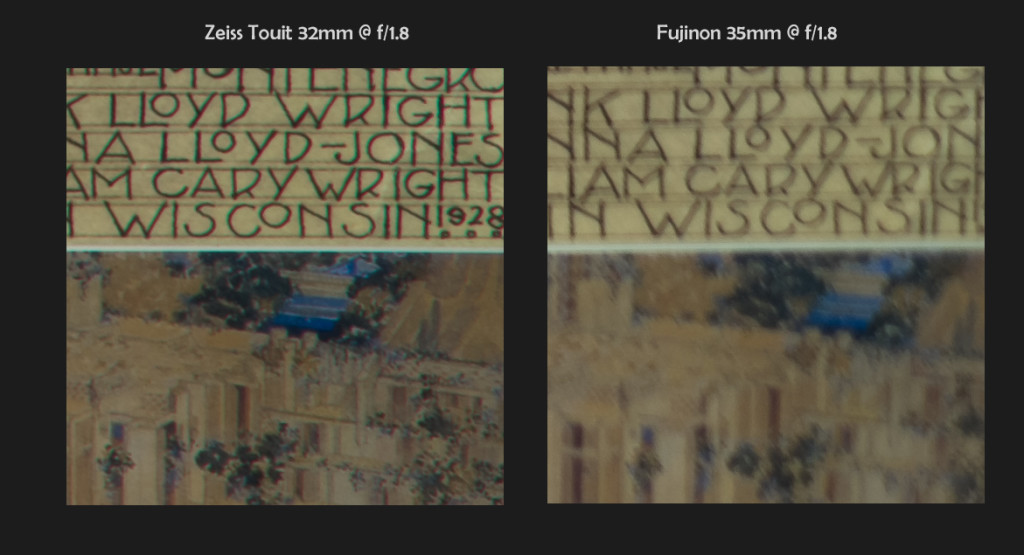 Zeiss 32mm f/1.8 vs Fuji 35mm f/1.4, 100% Corner Crops @ f/1.8 (click to enlarge)