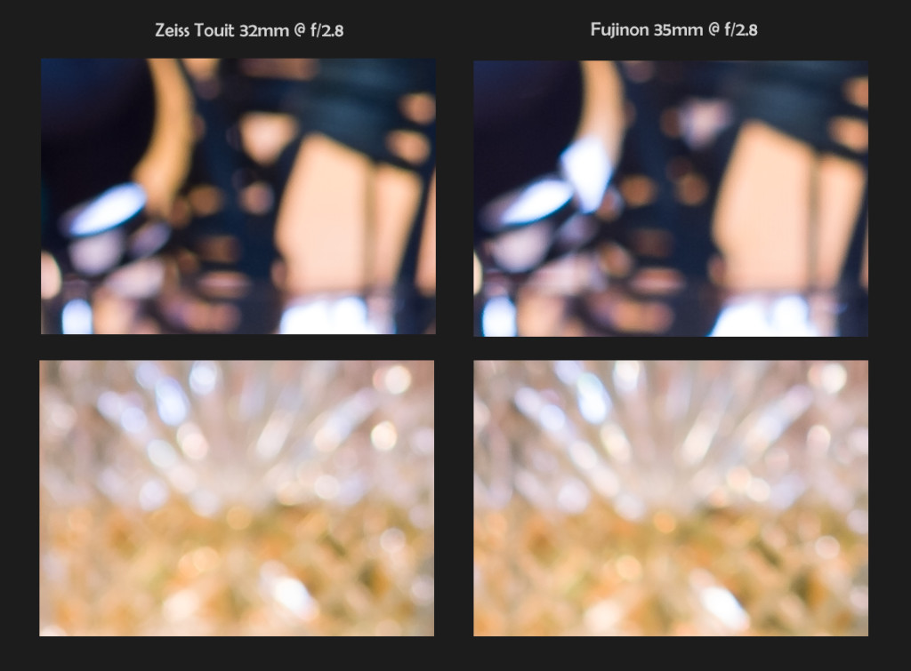 Zeiss 32mm f/1.8 vs Fuji 35mm f/1.4, 100% Crops, Bokeh @ f/2.8 (click to enlarge)