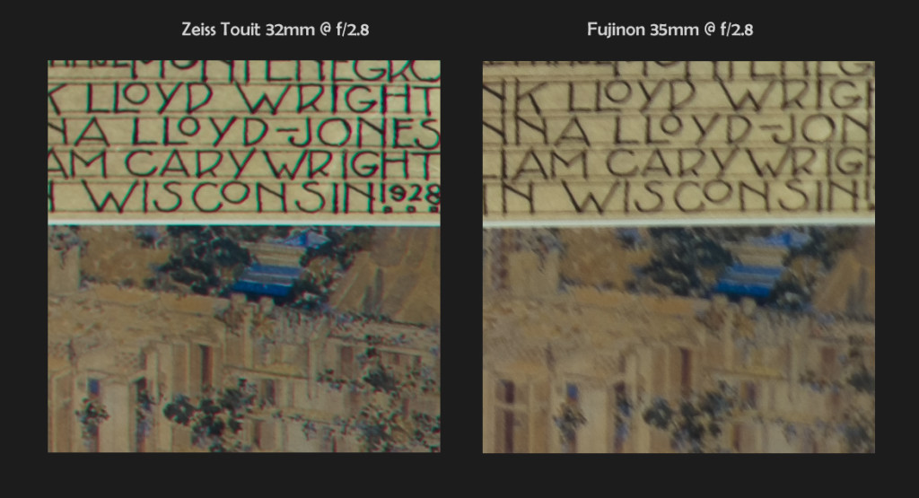 Zeiss 32mm f/1.8 vs Fuji 35mm f/1.4, 100% Corner Crops @ f/2.8 (click to enlarge)