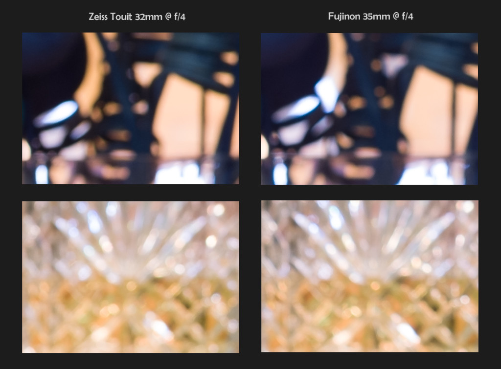 Zeiss 32mm f/1.8 vs Fuji 35mm f/1.4, 100% Crops, Bokeh @ f/4 (click to enlarge)