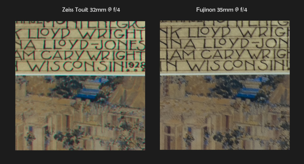 Zeiss 32mm f/1.8 vs Fuji 35mm f/1.4, 100% Corner Crops @ f/4 (click to enlarge)