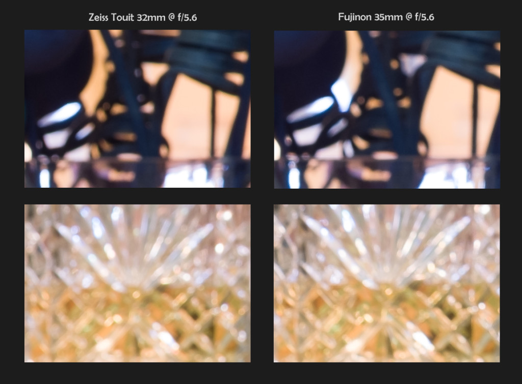Zeiss 32mm f/1.8 vs Fuji 35mm f/1.4, 100% Crops, Bokeh @ f/5.6 (click to enlarge)