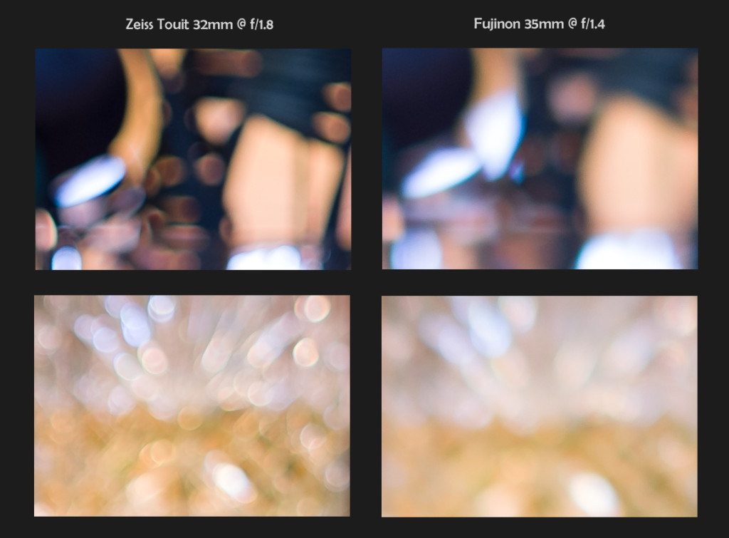 Zeiss 32mm f/1.8 vs Fuji 35mm f/1.4, 100% Crops, Bokeh @ Maximum Aperture (click to enlarge)