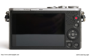 The rear of the Panasonic GM1, showing the large touchscreen and controls