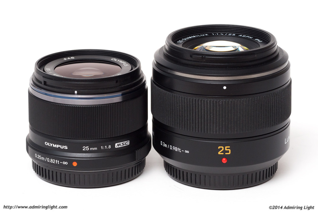 Olympus 25mm f/1.8 (left), Panasonic Leica 25mm f/1.4 (right)