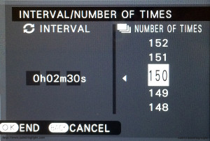 The X-T1's Intervalometer Settings
