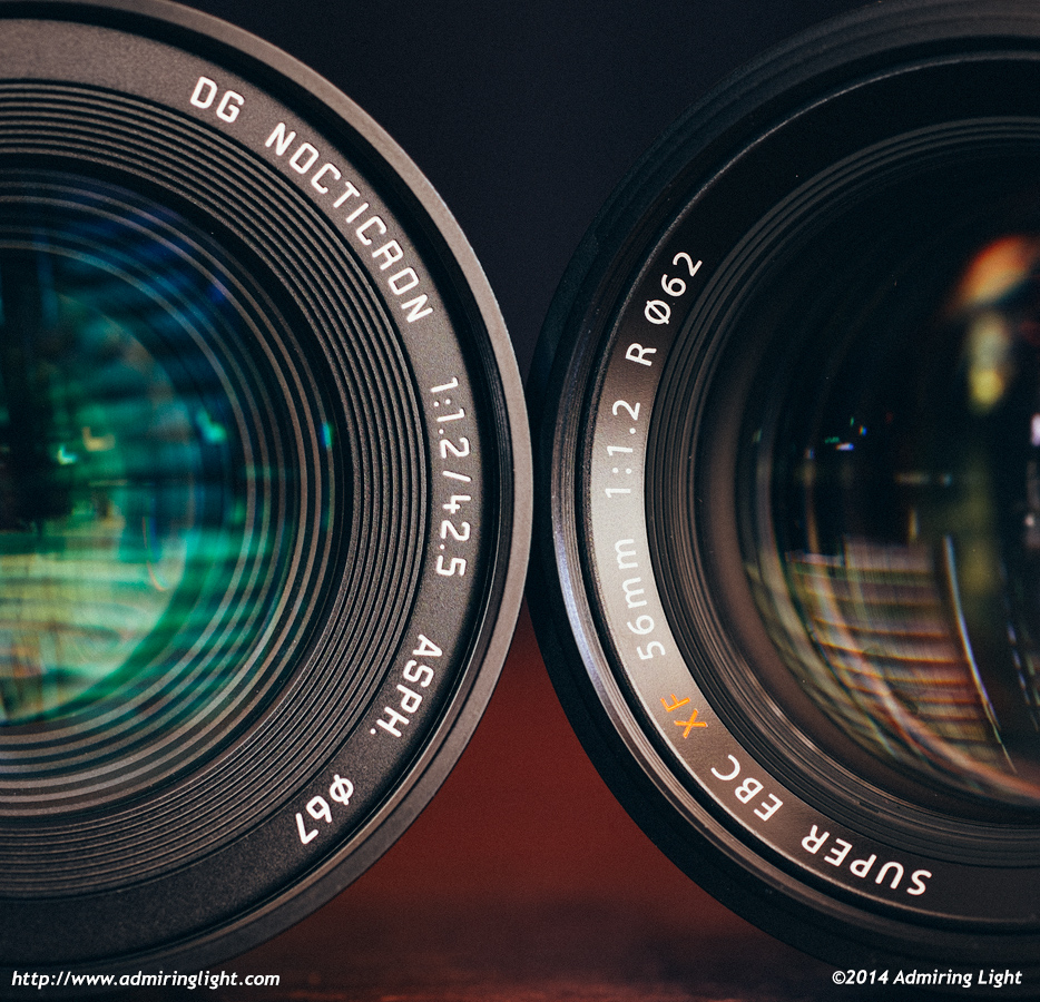 Fuji 56mm f/1 2 vs  Panasonic Leica 42 5mm f/1 2 Nocticron