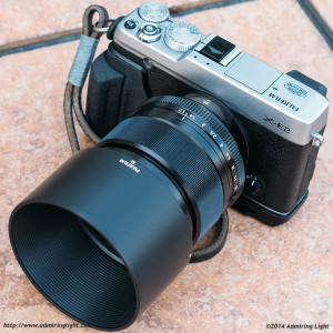 The 56mm f/1.2 with hood mounted on the Fujifilm X-E2
