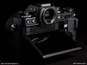 The X-T1's rear screen, tilted up.