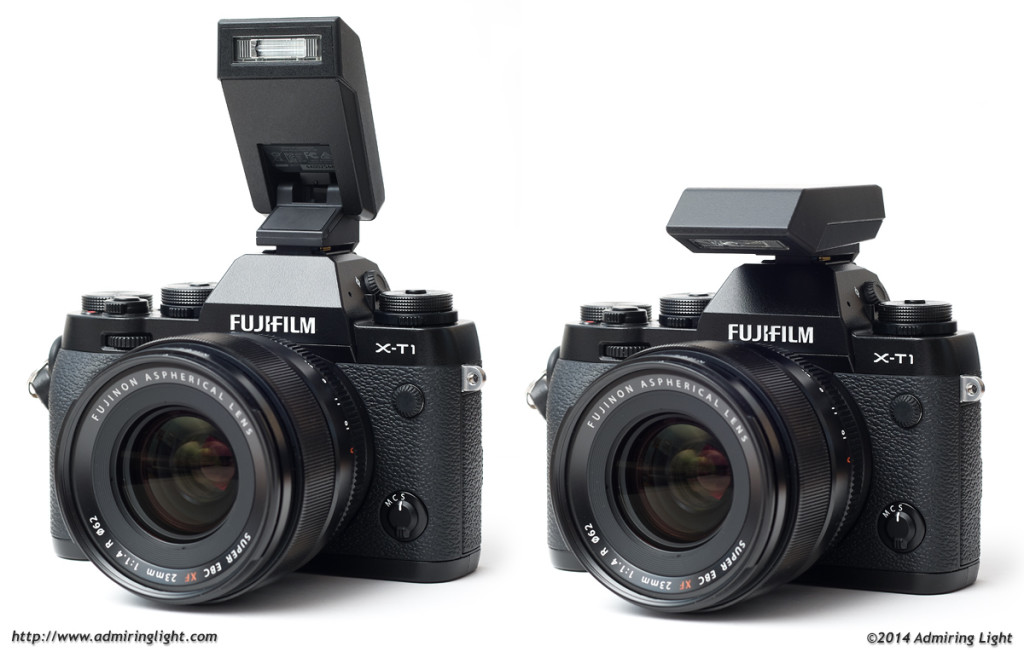 The clip-on flash for the X-T1 in its raised (left) and lowered (right) position