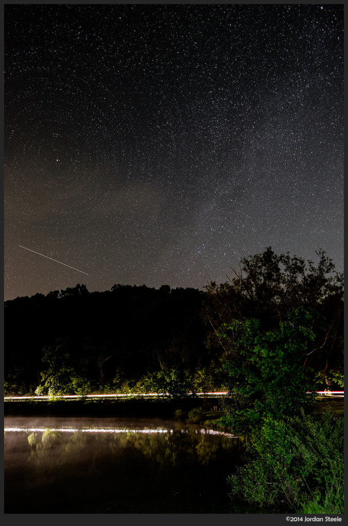 Meteor - Lake Logan, Ohio - Fujifilm X-T1 with Fujinon XF 14mm f/2.8 @ ISO 800, f/2.8, 90 sec (three 30 sec exposures)