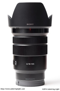 The Sony 18-105mm f/4 G OSS with hood