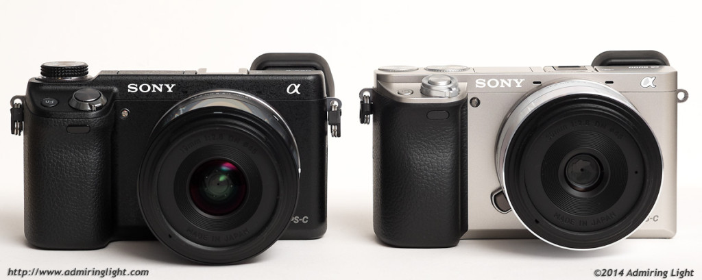 The Sony NEX-6 (left) and the new a6000 (right)