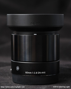 Sigma 60mm f/2.8 DN Art with supplied hood