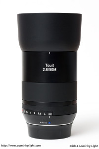 The Zeiss 50mm f/2.8 Makro-Planar with the included hood