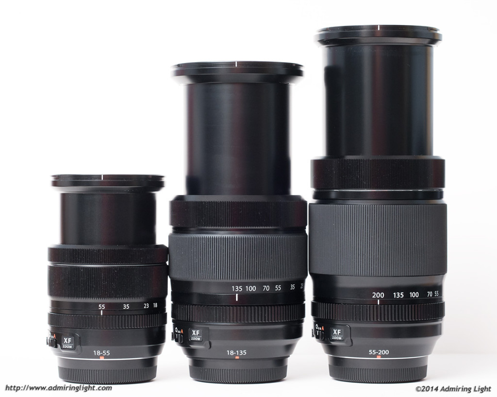 XF 18-55mm, XF 18-135mm, XF 55-200mm, lenses at their longest focal lengths