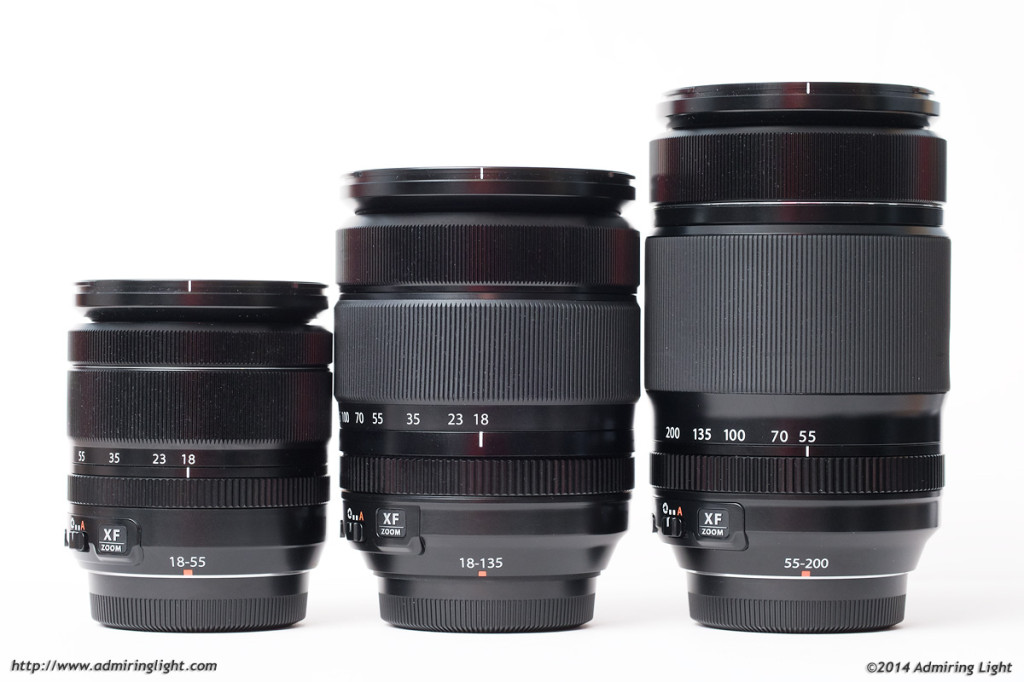 The XF 18-55mm, XF 18-135mm, and XF 55-200mm, at their shortest focal lengths