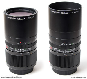 The 40mm f/0.85's hood slides out