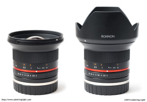 The Rokinon 12mm f/2.0 with and without the included lens hood