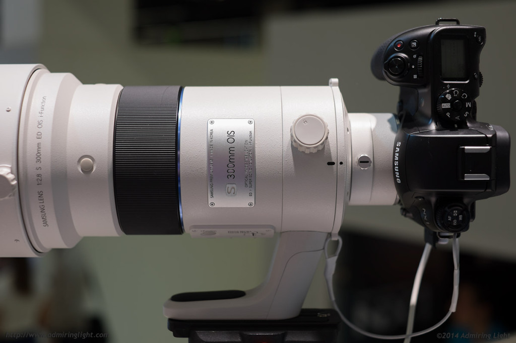 The NX1 with Samsung's prototype 300mm f/2.8 OIS (which looked beautiful through the viewfinder)