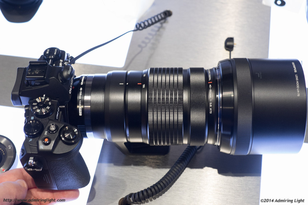 The Olympus 40-150mm f/2.8 with hood extended