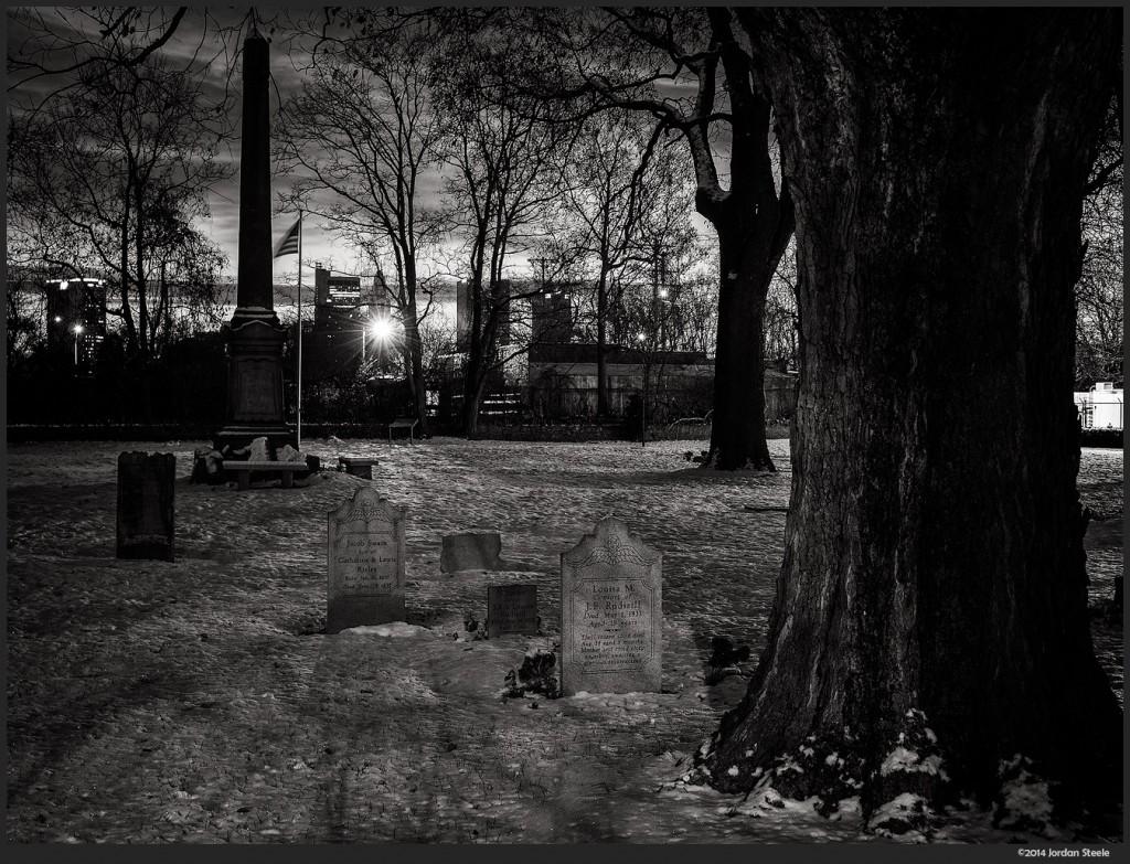 Snowy Graveyard - Panasonic LX100 @ 20.6mm, f/5.6, 2.5s, ISO 200