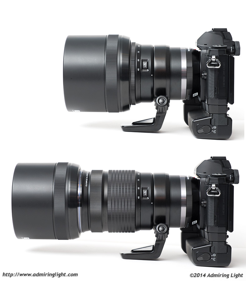 The 40-150mm f/2.8 lens hood extends and retracts easily
