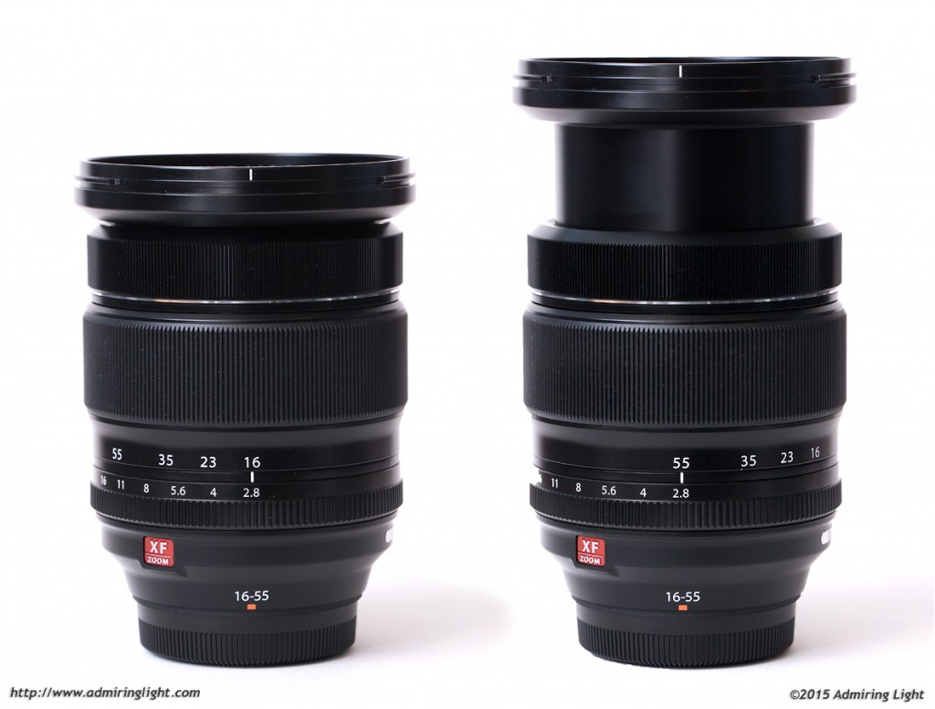 The 16-55mm at 16mm (left) and 55mm (right)