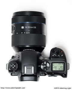 The 16-50mm f/2-2.8 mounted on the Samsung NX1